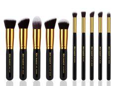 10pcs Professional Make up Brushes Set Foundation Blusher Kabuki Powder Eyeshadow Blending Eyebrow Brushes Black/gold