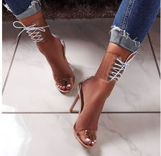 Eilyken Jelly Lace-Up Sandals Open Toed High Heels Sexy Transparent Heels Lace Up High Heels, Hot High Heels, Lace Up Sandals, High Heel Boots, Heeled Sandals, Sandals Outfit, Women Sandals, Heels Outfits, Clear High Heels