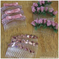 Some great ideas for decorated hair combs.  Perfect for dance / ballet class.
