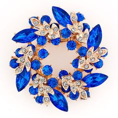 Pugster Floral Flower Pins Brooches Vintage Sapphire Blue Rhinestone Crystal  Dress Hats 63bfe26745c1