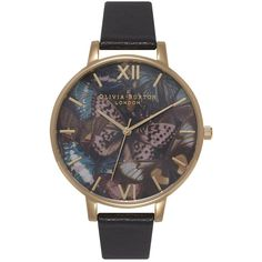 Olivia Burton Woodland Multi Butterfly Watch - Black & Gold ($120) ❤ liked on Polyvore featuring jewelry, watches, gold jewellery, olivia burton, yellow gold jewelry, kohl jewelry and black gold watches