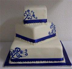 blue and white wedding cake