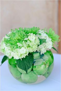 Centerpiece with White and Green Hydrangea