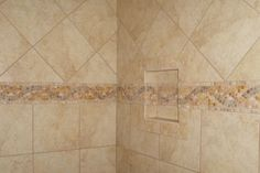 Ceramic Shower with Natural Stone Accents Natural Stones, Home Remodeling, Showers, Tile Floor, Flooring, Ceramics, Bathroom, House, Ideas