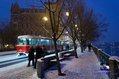 Prague Old Town, winter snow and trams