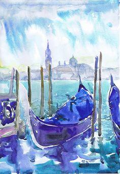 Venice Italy art, watercolor painting, italian wall decor, Venetian canal, art print, Illustration, landscape painting , Venezia, waterfront