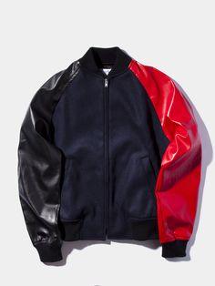 Mix Fabric Varsity Jacket