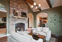 Stone Fireplace in Hearth Room
