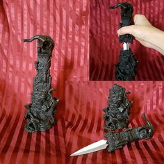 ooak Dragon Castle Statue with Hidden Knife