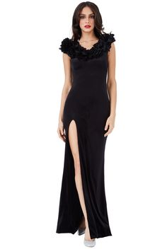 Velvet Maxi Dress with Flower Neckline - Black - Front - DR1001