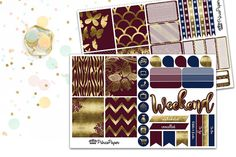 Planner Sticker Weekly Kit Cranberry and Gold for your Erin Condren Life…