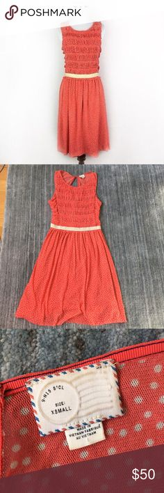 """Anthropologie Postmark Polkadot Dress Beautiful Anthropologie """"postmark"""" Brand polkadot dress. Size XS. Material is 100% nylon and lining is 100% rayon. Excellent used condition! Color is a vibrant orange/red/coral. Measures approx 37"""" from top to bottom and approx 14"""" across bust. Anthropologie Dresses"""