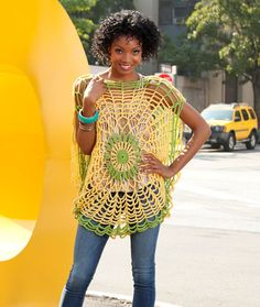 I don't know about this for everyday wear.  when I look at it I see a spider web.  Would be cool to make one for Halloween! Crochet Trippy Tunic free pattern