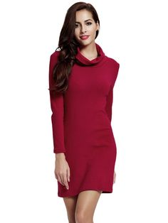 Sale 10% (28.79$) - Women Pile Collar Long Sleeve Knitted Slim Package Hip Dress