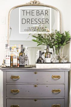 The Bar Dresser is the New Cocktail Cart – Savoury & Style Dresser Bar, Dining Room Dresser, Dresser Styling, Dining Room Bar, Home Bar Cabinet, Bar Cabinets For Home, Home Bar Rooms, Vintage Dressing Tables, Vintage Bar Carts