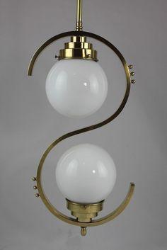 Good Details zu Edle ausgefallene ART DECO Lampe H ngelampe Opalglskugel Bauhaus