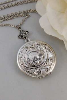 Caitlins Claddagh,Claddagh, Antique Locket,Silver Locket,Heart,Crown, Irish,Lucky, Shamrock,Love. Handmade jewelry by valleygirldesigns