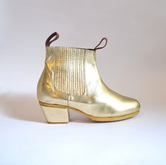 WAYNE LEATHER ANKLE GOLDEN BOOTS - GOLDENPONIES