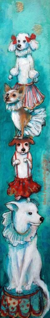 Circus Dogs - Fine Art Reproduction On Wood by Maria Pace-Wynters. $70.00, via Etsy.