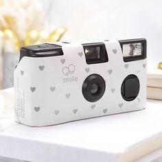 Single Use Camera - White and Silver Hearts Design
