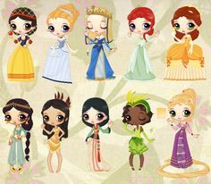 Snow, Cinderella, Aurora, Ariel, Belle, Jasmine, Pocahontas, Mulan, Tiana, Rapunzel