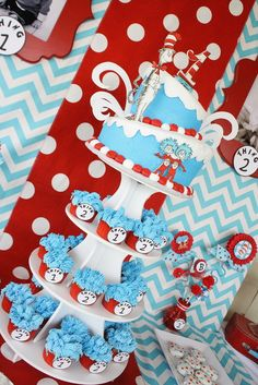 Dr. Seuss Thing 1 and Thing 2 1st Birthday Party for Twins - Twin - Red and Aqua Blue - Chevron & Polka Dots - Candy Sweets Dessert Table - Buffet - Ideas - Cake and Cupcakes