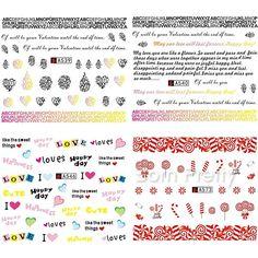 $1.29 1 Sheet Love Happy Day Nail Art Water Decals Transfer Sticker A539/A540/A546/A573 - BornPrettyStore.com