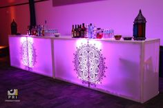 Custom vinyl stickers on our Acrylic bars for a Moroccan themed party. Bollywood Theme, Moroccan Theme, Bar Logo, Lounge Ideas, Vape Shop, Custom Vinyl, Free Quotes, Party Stuff, Event Planning