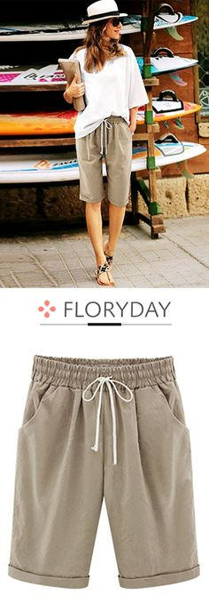 Loose Cotton Shorts Pants summer in 2018 Love this outfit Fashion Over, Fashion Pants, Look Fashion, Fashion Outfits, Womens Fashion, Cool Outfits, Casual Outfits, Summer Outfits, Summer Wear