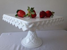 Vintage Square  Milk glass Cake Stands by DesignBonBons on Etsy