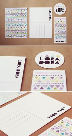 Lora Dora branding, business card, graphic design, visual identity, patterns, triangle