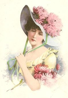 Lady wearing lrg pink flwrs on her hat on vintage pc Decoupage Vintage, Art Vintage, Vintage Girls, Vintage Beauty, Vintage Children, Vintage Prints, Victorian Art, Victorian Women, Vintage Pictures