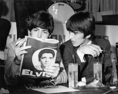 Paul McCartney and George Harrison reading a magazine. And Elvis is on one of the pages how cool is that.1965
