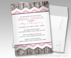 Pink Chevron and Wood Rustic Bridal Shower invitations
