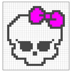 Ravelry: Monster High Skull pattern by Alina Appasov going to use this for a chistmas pressie for my little girl Cross Stitch Charts, Cross Stitch Designs, Cross Stitch Patterns, Pixel Art Templates, Perler Bead Templates, Crochet Monster High, Crochet Chart, Pixel Crochet, Crochet Ideas