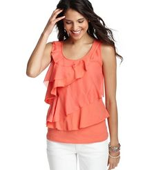 yay its back! Knit and Woven Tiered Cotton Tank - LOFT