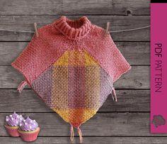 Pastel Cupcakes Baby Girl poncho weaving loom PDF pattern