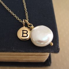 Coin pearl necklace, bridesmaid jewelry, bridesmaid necklace, custom initial, freshwater pearl, gold filled chain, personalized jewelry. $38.00, via Etsy.