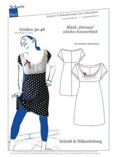 Knitting Patterns Dress Sewing instructions and patterns Dress Ferrara - Sewing patterns and sewing instructions at makerist Dress Sewing Patterns, Clothing Patterns, Knitting Patterns, Sewing Clothes, Diy Clothes, Sewing Tutorials, Sewing Projects, Sewing For Kids, Modest Outfits