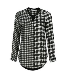 Houndstooth BlouseHoundstooth Blouse, Black/White Print