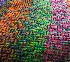 Scrap yarn blankie- using 3 strands at once; once nears end add on... Stitches can vary