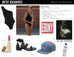 Beth Richards - Audrey one-shoulder swimsuit White Cover Up, Richard Black, One Shoulder Swimsuit, Sun Lotion, Beach Essentials, Black Swimsuit, Black Is Beautiful, Style Icons, Swimsuits