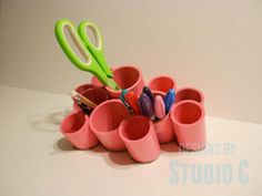 Cut on the bias, a group of PVC pipes keep pens, scissors, and markers within easy reach as you work. Get the tutorial at Designs By Studio C »