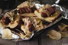 Bacon Wrapped Beer Brats via Beer Bratwurst, Beer Brats, Brats Recipes, Beef Recipes, Bacon Wrapped, Savoury Dishes, Sandwiches, Burgers, Hot Dogs