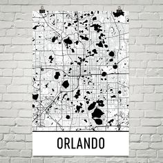 Orlando Map Art Print, Orlando FL Art Poster, Orlando Wall Art, Orlando Gift, Map of Orlando, Orlando Print, Birthday, Decor, Modern, Art