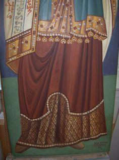 (detail) Prophet Melchizedek, Byzantine Greek Macedonian School of Emmanouil Panselinos, original mural painting in Mount Athos, Greece