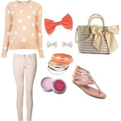 pink and white polka dot sweater with light pink pants and bow accessories