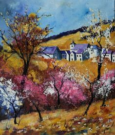 Spring in Sosoye, by Pol Ledent Oil Painting On Canvas, Painting Prints, Art Prints, Artwork Online, Online Art, Sell Artwork, Buy Paintings, Original Paintings, Landscape Artwork