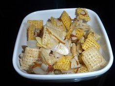 Yumm!  I was introduced to this recipe today and it was sooooo good!!  Coconut Chex Mix
