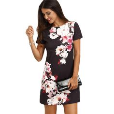 #aliexpress, #SheIn, #Summer, #Casual, #Dresses, #Women, #Ladies, #Multicolor, #Floral, #Print, #Short, #Sleeve, #Round, #Straight, #Short, #Dress